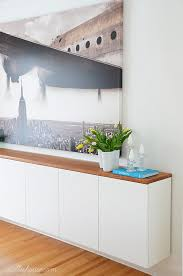Sideboards Floating Buffet Cabinet Contemporary Credenza Space Saving White With Solid Wooden Top