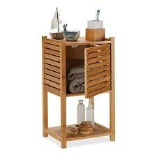 relaxdays badezimmer kommode drei regale eine tür handtuchablage bambus 62 5 x 35 x 29 cm 1 einheit braun 62 5 x 35 x 29 cm
