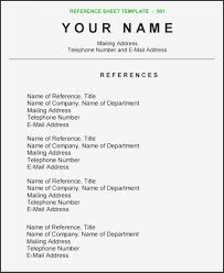 Resume Templates Reference Sheet For Samples Page Template