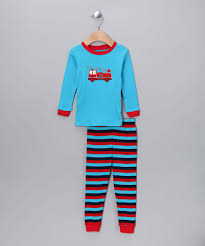 Blue & Red Fire Truck Pajama Set - Infant Toddler & Boys | Products ...