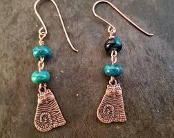 Primitive Chrysocolla Cat Dangle Earrings Gemstone Beads Rustic Jewelry Natural Stones