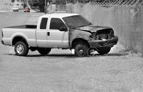 100 Wrecked Truck White Pickup Burned Out And On Roadside Stock Photo