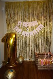 amazon com shinybeauty tinsel foil fringe curtain 3ftx8ft gold