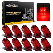 100 Truck Marker Lights Partsam 10X Oval Red 25 2 Diode LED Trailer Clearance Side Lamp