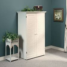 sauder 158097 harbor view antiqued white craft armoire