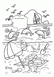 Summer Fun Coloring Book Pages Beach In Page For