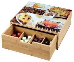 boite de rangement cuisine kesper 50950 boîte à tiroir bois multicolore 30 x 30 x 10 cm