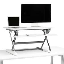 Dual Monitor Standing Desk Attachment by White Medium Peak Adjustable Height Standing Desk Riser