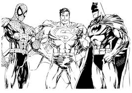 Batman Spiderman And Superman Coloring Page