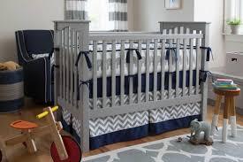 Navy and Gray Elephants Crib Bedding