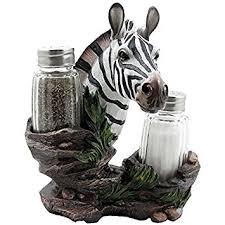 Decorative Zebra Glass Salt And Pepper Shaker Set With Holder Figurine In African Jungle Safari Statues
