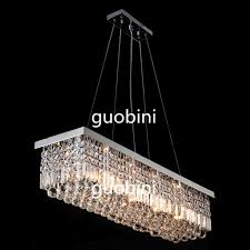 Modern Rectangular Crystal Chandelier Dining Room Length Multiple Size LED Cyrstal Pendant Light Ceiling Lamp Chandiliers Lighting Online With 34584 Piece