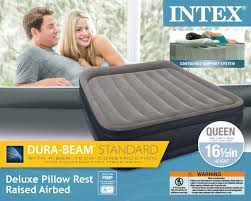 Intex Inflatable Pull Out Sofa Bed by Intex Queen Deluxe Pillow Rest Raised Airbed Air Mattress Bed W