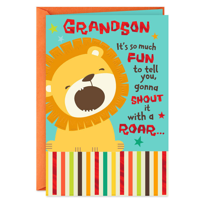 Cute Lion No One Greater Birthday Card for Grandson