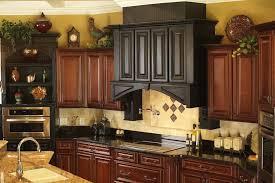 What To Put Above Kitchen Cabinets Granite Countertop Brown Wood Cupboard Chimney Recessed Lights Tile Backsplash Design Idea