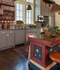 Red White And Blue Kitchen Decor With Wooden Island Other Related Images Gallery