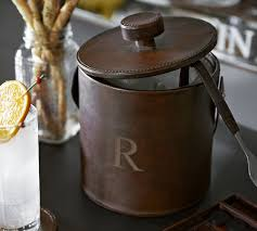 Leather Ice Bucket #monogrammed | Monogram | Pinterest | Kitchen ... Copper Bar Tools Pottery Barn Au 10 Affordable Carts Plus Accsories To Stock Them With Glamour Desks Office Target Home Stores Fun Kitchen Antler Towel Rack Deer Tristan Cart Desk Iphone Holder Graphic Designer Decoration Ideas Decor Appealing Backless Barstools And Stools Leather Best 25 Barn Wall Art Ideas On Pinterest How Set Up A Tools Bar Essentials Christmas Christmas