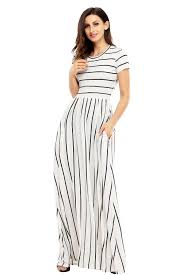 new arrival black striped white short sleeve maxi dress