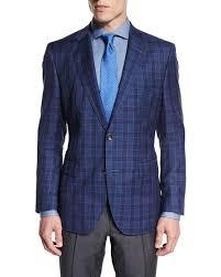 hugo plaid suit hugo check plaid two button jacket blue