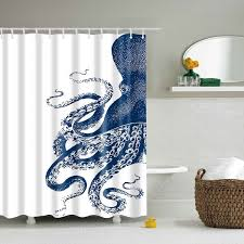 2018 Waterproof Octopus Printed Polyester Shower Curtain BLUE