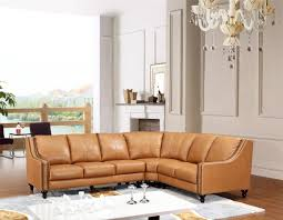 Brown Leather Couch Living Room Ideas by Brown Leather Sectional Sofa Furniture With Ottomans On The Square