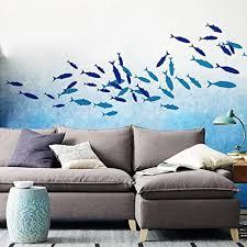 wandsticker4u wandtattoo fische i farbe hellblau i wandsticker badezimmer meerestiere fliesen aufkleber bad deko fisch see i kinderzimmer