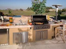 L Shaped Outdoor Kitchen Ideas Beige Mini Pendant Lighting Brown Varnished Wood Island Built In Grill With Stainless Round Glass Dining Table