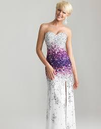 white u0026 purple ombre beaded chiffon strapless sweetheart prom