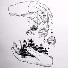 Hands Holding The Universe And Earth