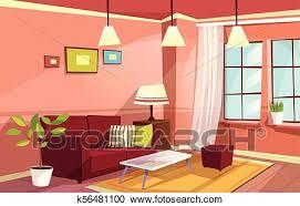 vektor karikatur wohnzimmer wohnung innere clipart