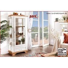 weiße landhausstil vitrine mexico pinie massivholz handarbeit aus mexiko vitriene