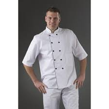 vetement de cuisine pas cher veste cuisinier blanche pressions liseré noir my tablier