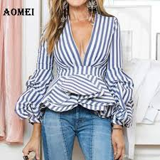 puff sleeve blue white stripe blouse shirts ruffles trim women