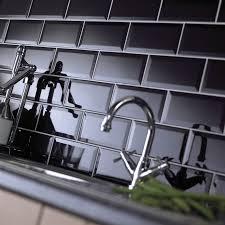 black beveled subway tile home remodel wall tiles gloss black