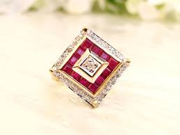 deco square rings deco style ruby spinel ring unique square