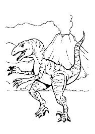 Coloriage Dun Tyrannosaure Près Dun Volcan