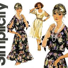 1970s Dress Pattern Simplicity 8586 Pullover Evening Cocktail Party Scoop Neck Slit Kimono Sleeves Easy