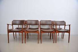 Teak & Leather Dining Chairs by Erik Buch for O D M¸bler 1960s