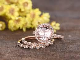 2 3 Carat Round Morganite Bridal Set 14k Rose Gold Diamond