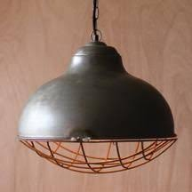 23750 Raw Metal Bell Pendant Lamp With Rustic Cage 19x19 L15038