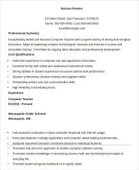 Sample Resume For Experienced Lecturer In Computer Science Printable Teacher 32 Free Word Pdf