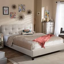 Tufted Platform Bed in Beige Free Shipping Today Overstock