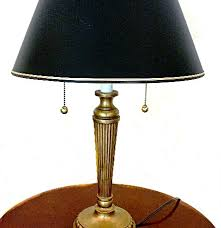 Stiffel Table Lamps Vintage by Stiffel Brass Table Lamp With Navy Blue Shade And Double Bulbs Ebth