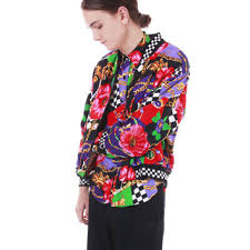80s Vintage Windbreaker Jacket Colorful Color Block Checkered Floral Hipster 90s Hip Hop Swag Unisex Clothing