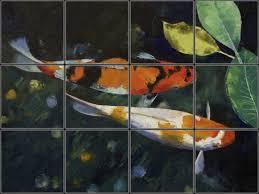 koi fish pond decorative ceramic tile mural pacifica tile studio