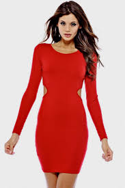 long sleeve red bodycon dress naf dresses