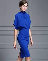 royal blue batwing sleeve luxe look sheath midi dress blue
