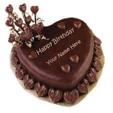 Best Wishes Chocolate Heart Birthday Cake With Name