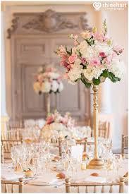 Tall Wedding Centerpieces Pink White Gold Romantic Timeless Elegant Decor Best
