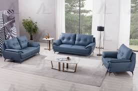 100 Modern Couches Blue Leather Sofa Set Living Room Furniture For Small